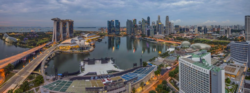 entire view of marina bay singapore aerial vantage point