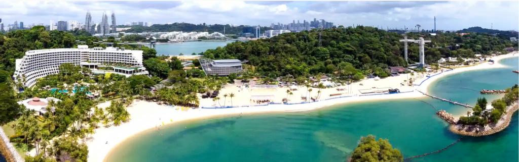 aerial view of singapore sentosa island beach front