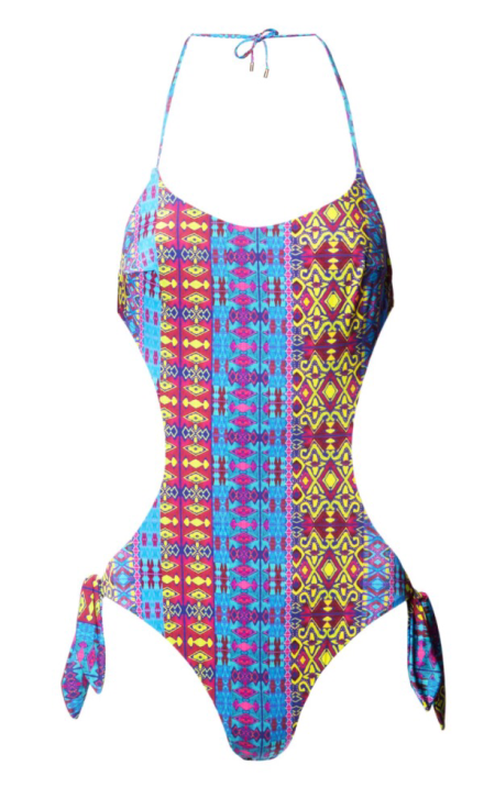 STAND OUT WITH MATTHEW WILLIAMSON BEACHWEAR tribal geo cut out onepiece