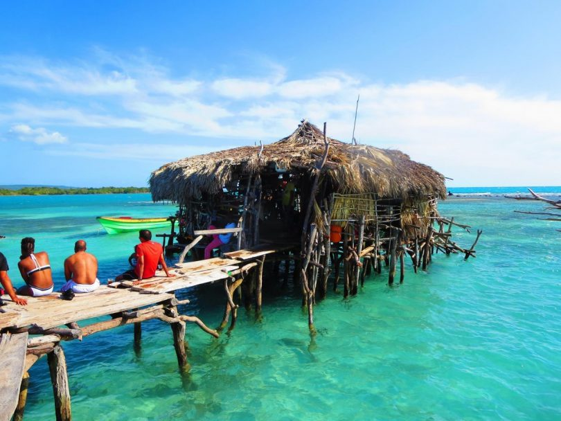 negril jamaica pelican bar in the middle of the ocean