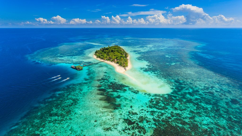 aerial view of lankayan island the gem of borneo sabah