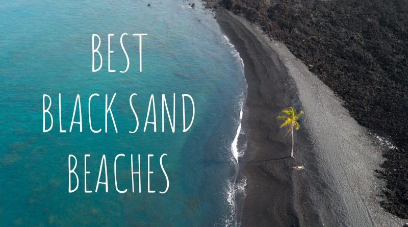 best black sand beaches aerial view of lone pine in the middle