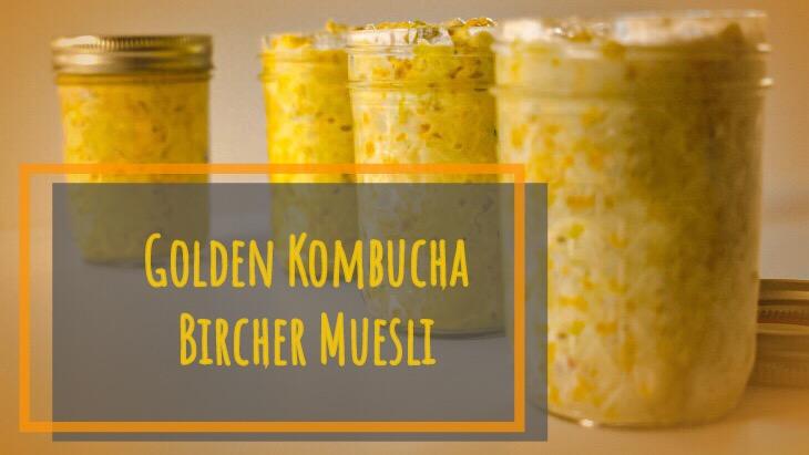 yellow golden overnight bircher muesli oats in glass jars