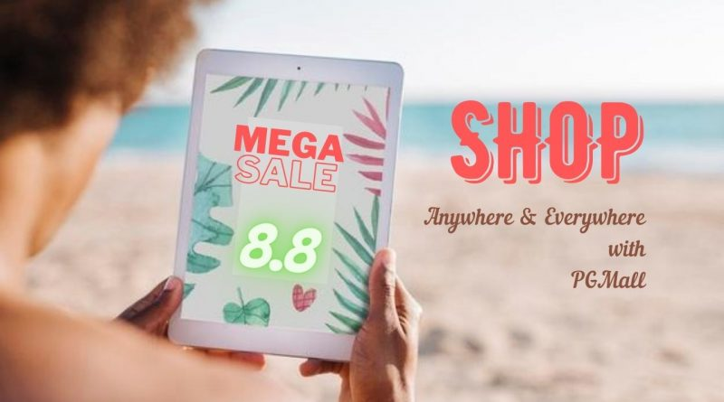 man tablet ipad on beach online shopping banner